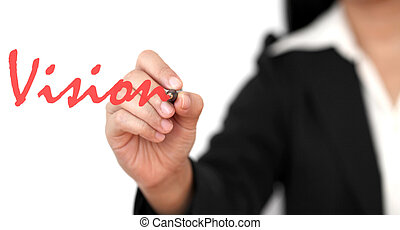 vision - asian business woman hand writing vision word