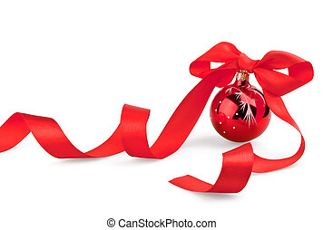 Christmas red ball with ribbon on white background