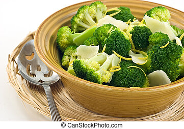 Steamed broccoli with lemon zest and Parmigiano Reggiano...