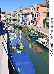 Colorful buildings in main canal Burano island, Venice Italy