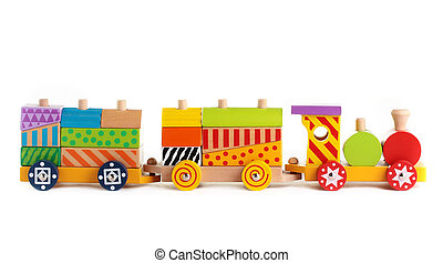 Toy train. - A wooden toy train on a white background.