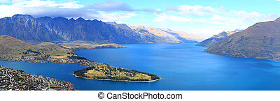 panorama of lake Wakatipu and Queenstown downtown skyline,...