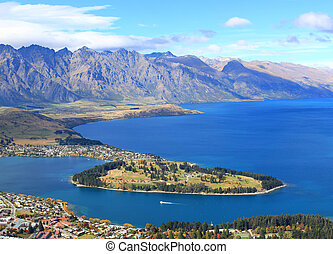 closeup of lake Wakatipu and Queenstown golf course garden...