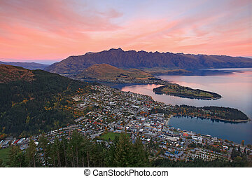 landscape of queenstown region in dusk , New Zealand