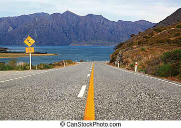 perspective of highway road freeway to lake Hawea in Wanaka...