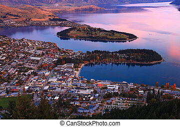 queenstown downtown skyline evening - queenstown downtown...