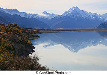 Mount cook of lake pukaki - landscape of Mount cook of lake...