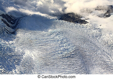 aerial view of franz josef glacier from helicopter in New...