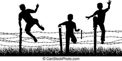 Fence boys - Editable vector silhouettes of three boys...