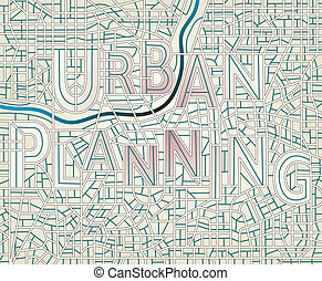 Urban planning - Editable vector map of a generic city with...
