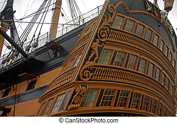 Victory - Close up view of rear of HMS Victory