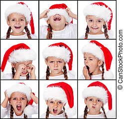 Christmas expressions on little girl - Various expressions...