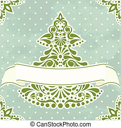 Vintage Christmas card - Victorian style illustration with...