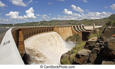 Dam wall time lapse - Time lapse of a big dam with strong...