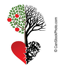 Broken heart - Live and dead tree from heart. A vector...