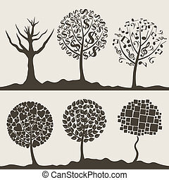 Wood tree3 - Silhouettes of trees on a white background. A...