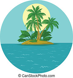 Island with palm and sun - Tropical sea island with palm...