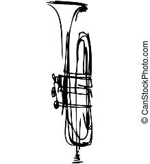 Esboço, cobre, cano, musical, instrumento
