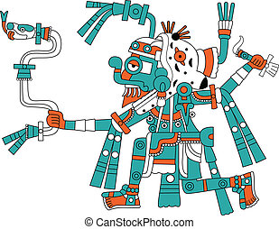 Mayan god of rain Tlaloc - Vector image of Mayan god of rain...