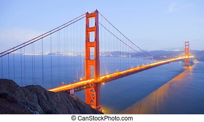 Golden Gate Bridge, time lapse - Sunset, Golden Gate Bridge,...