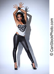 African american model in sexy fashion model pose - Sexy...