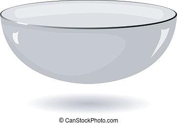 矢量, 插圖, 金屬, 碗, 白色, 背景