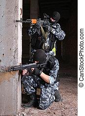 terroristas, pretas, Máscaras, armas