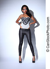 African american fashion model in black leggings - Sexy...