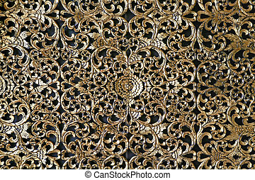 Wall Decor - Thai Traditional Golden Decoration on Wall