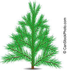 Fur-tree - Green christmas fur-tree isolated on white...