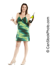 Elegant young woman celebrating with champagne