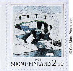 postage from finland - FINLAND - CIRCA 1992: A post stamp...