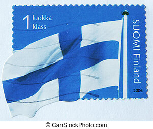 flag of Finland - FINLAND-CIRCA 2006: A post stamp printed...
