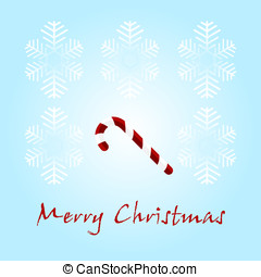 Christmas card with a sugar candy on a blue background
