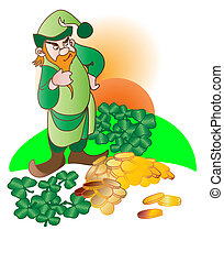 Leprechaun - St Patrick Day Leprechaun and his gold