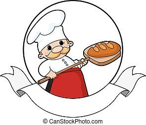 baker with bread banner - illustration of a baker with bread...