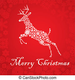 Snowflake deer Christmas card
