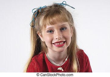 blond girl posing for model