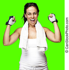 sporty woman gesturing good - portrait of a sporty middle...