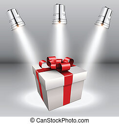 Background with gift box and scenic spotlights.