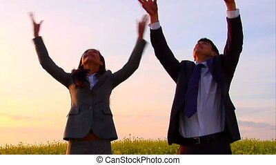 Rejoicing colleauges - Happy business people satisfied their...