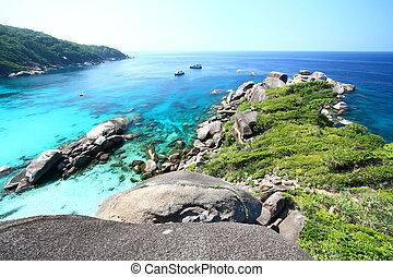 Panoramic of Coral view from the Sailing Rock, Similan...
