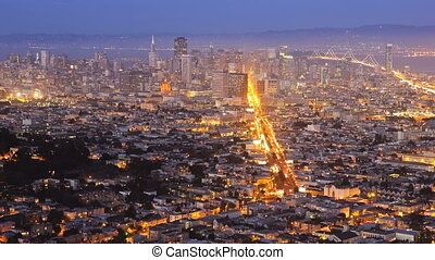 San Francisco, night, time lapse - Zoom in downtown San...