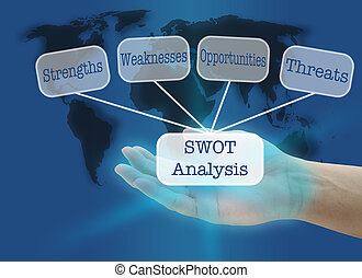 SWOT Analysis - man hand hold business SWOT concept with...