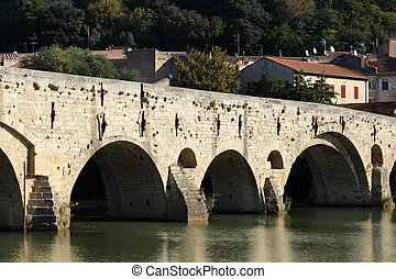 Ancient bridge Pont Vieux in Beziers, France