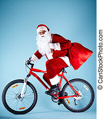 Santa with gifts - Photo of happy Santa Claus with red sack...
