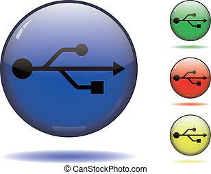 USB symbol on color spheres - Black USB symbol on a sphere...
