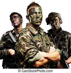 soldiers group - portrait of soldiers group with jungle...