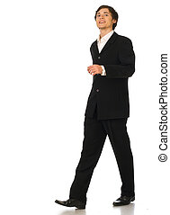 Business man walking on white background