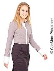 Young business woman walking - Young attractive business...